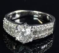 AIG Certified 1.85 Carat Diamond and 18 Karat White