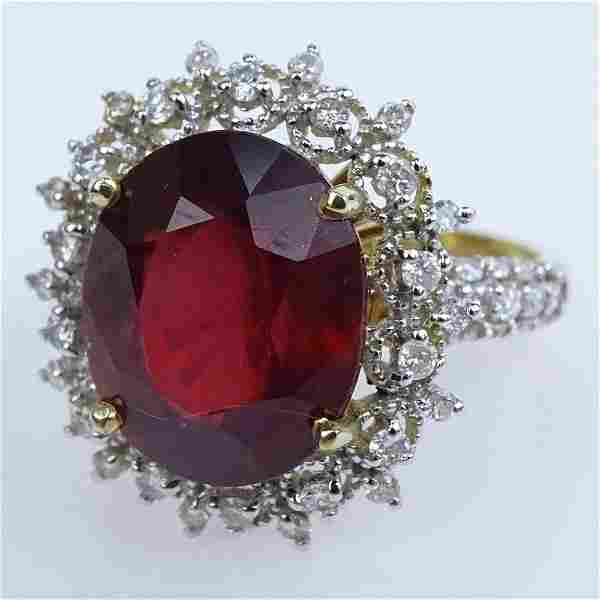 AIG Certified 8.91 Carat Oval Cut Ruby, .78 carat Round
