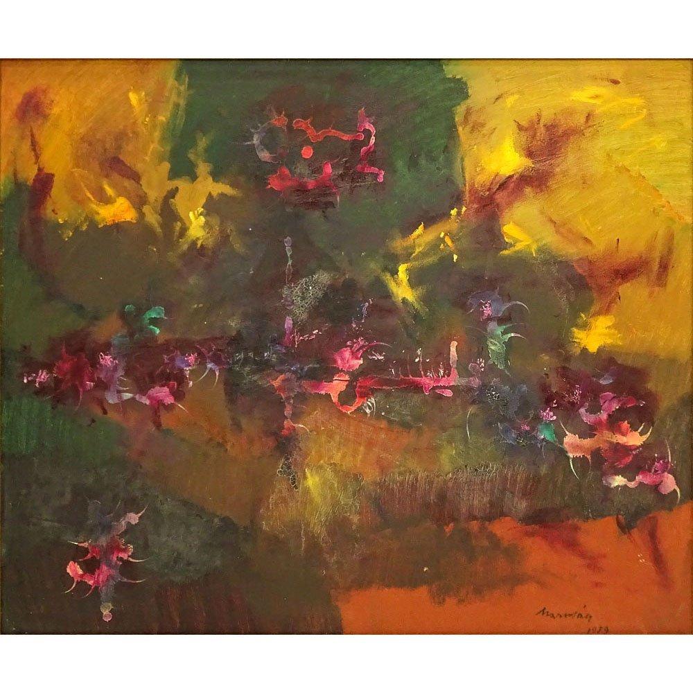 "Mid Century Oil on Artist Board ""Abstract Composition"""