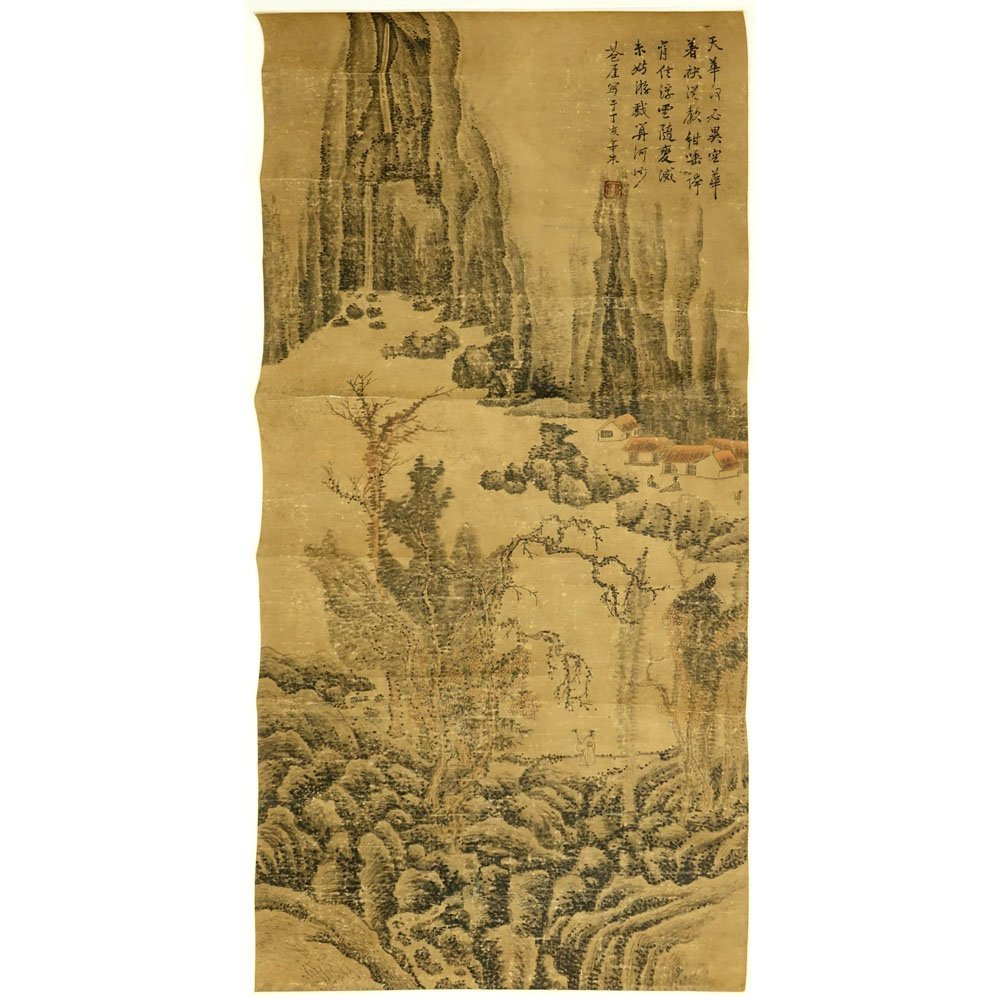Antique Chinese Hand Painted Scroll on Paper. Signed