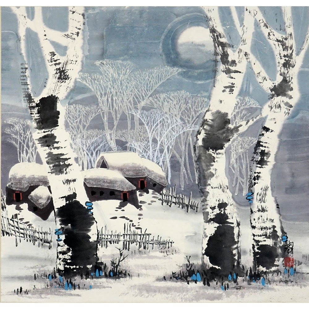 """20th Century Chinese Gouache on Paper. """"Winter Village"""""""