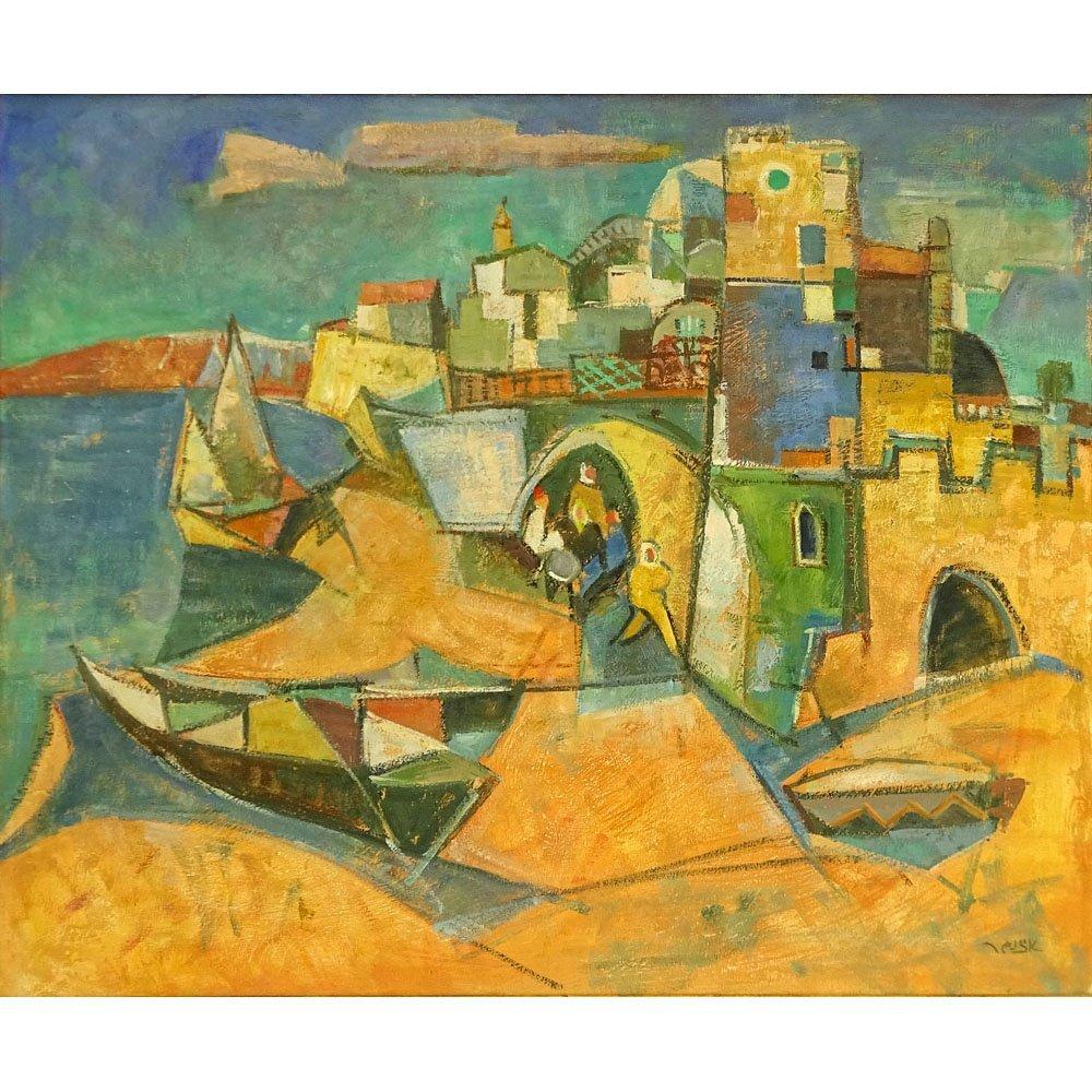 "Modern Israeli Oil on Canvas ""Port City"" Signed lower"