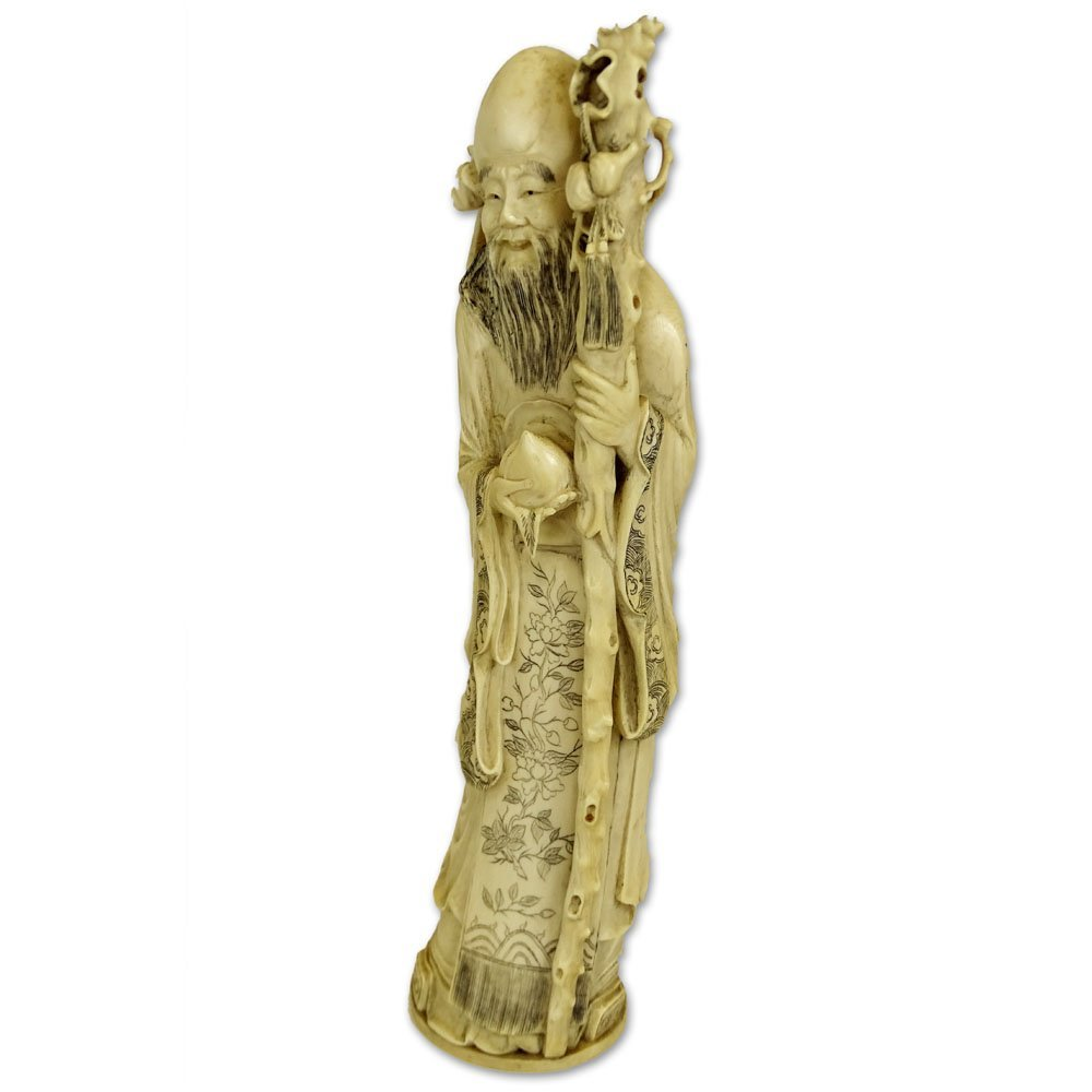 Antique Chinese Carved Ivory Immortal Figure. Unsigned.