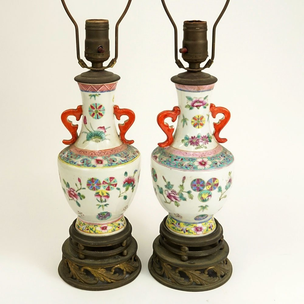 Pair of Antique Chinese Export Porcelain Famille Rose