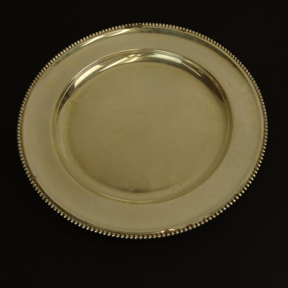 Vintage Peruvian Sterling Silver Round Tray. Signed