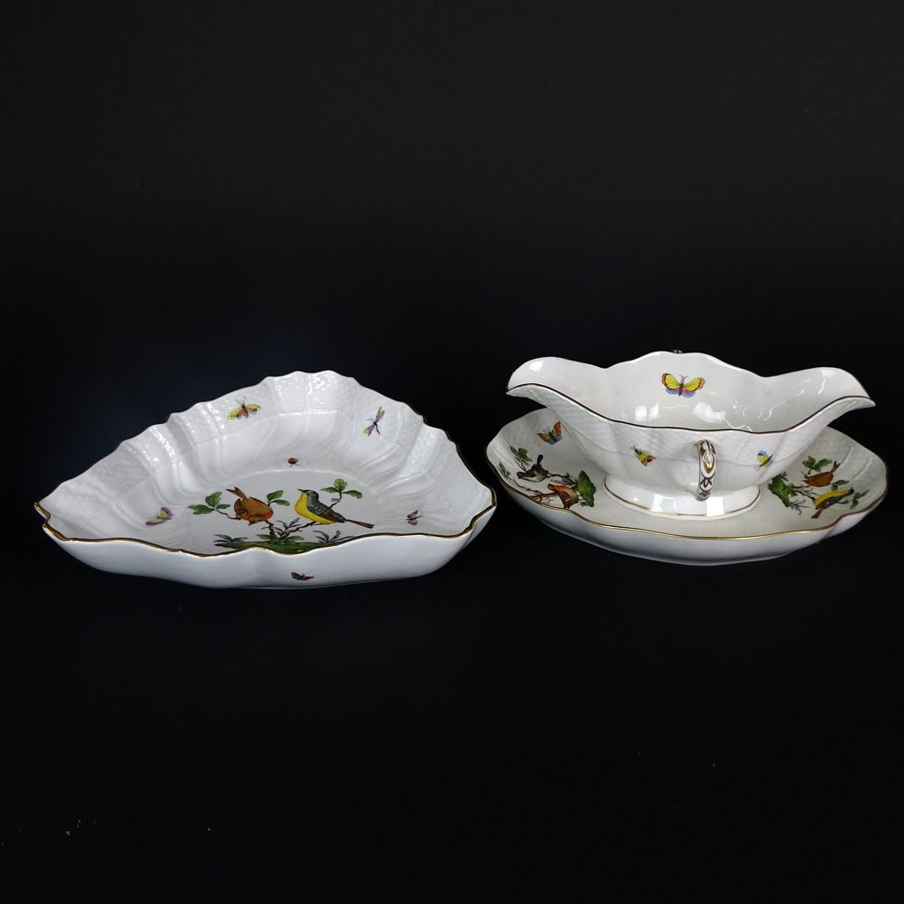 Two (2) Herend Rothschild Porcelain Serving Pieces.