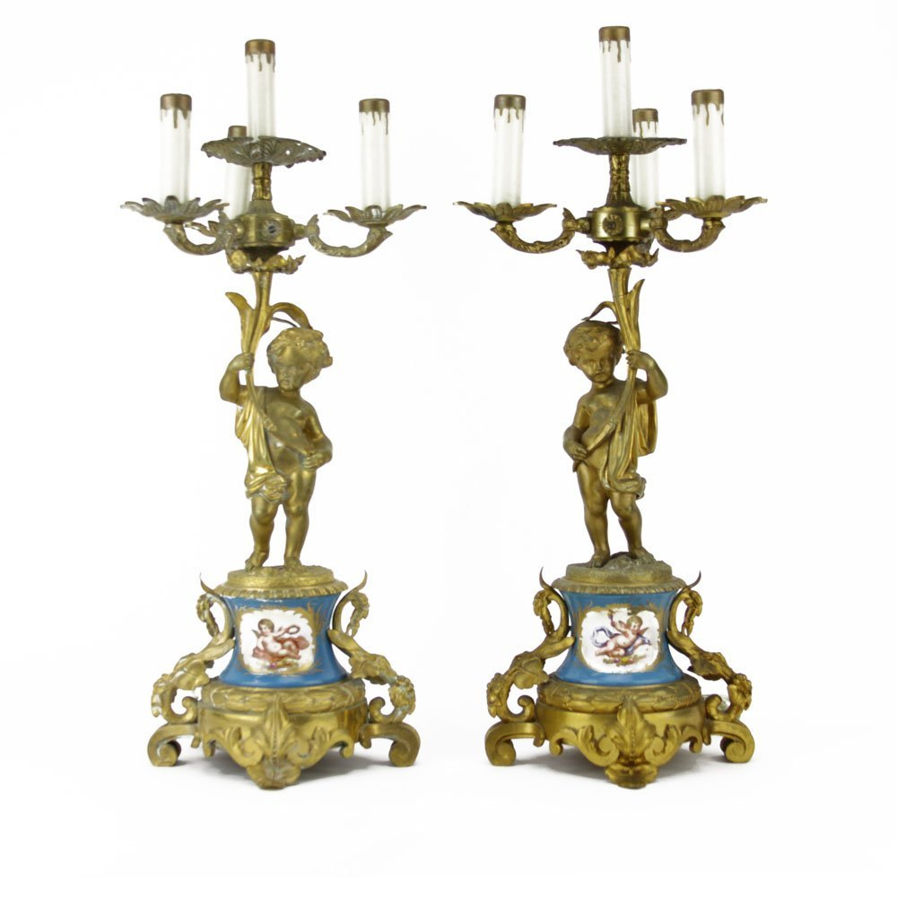 Pair Antique Sevres Style Gilt Bronze and Porcelain