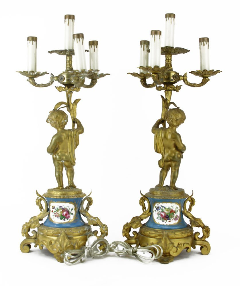 Pair Antique Sevres Style Gilt Bronze and Porcelain - 2