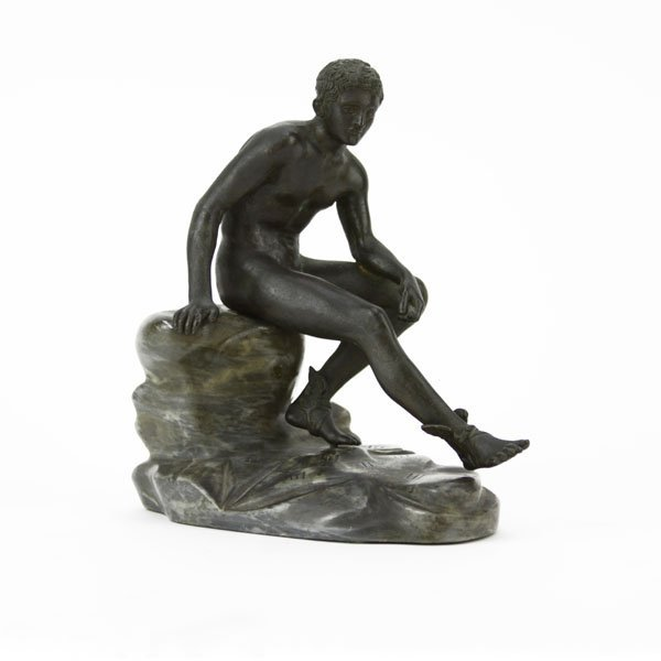 "Vintage Bronze Sculpture on Marble Base ""Mercury""."