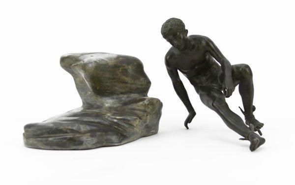 "Vintage Bronze Sculpture on Marble Base ""Mercury"". - 3"