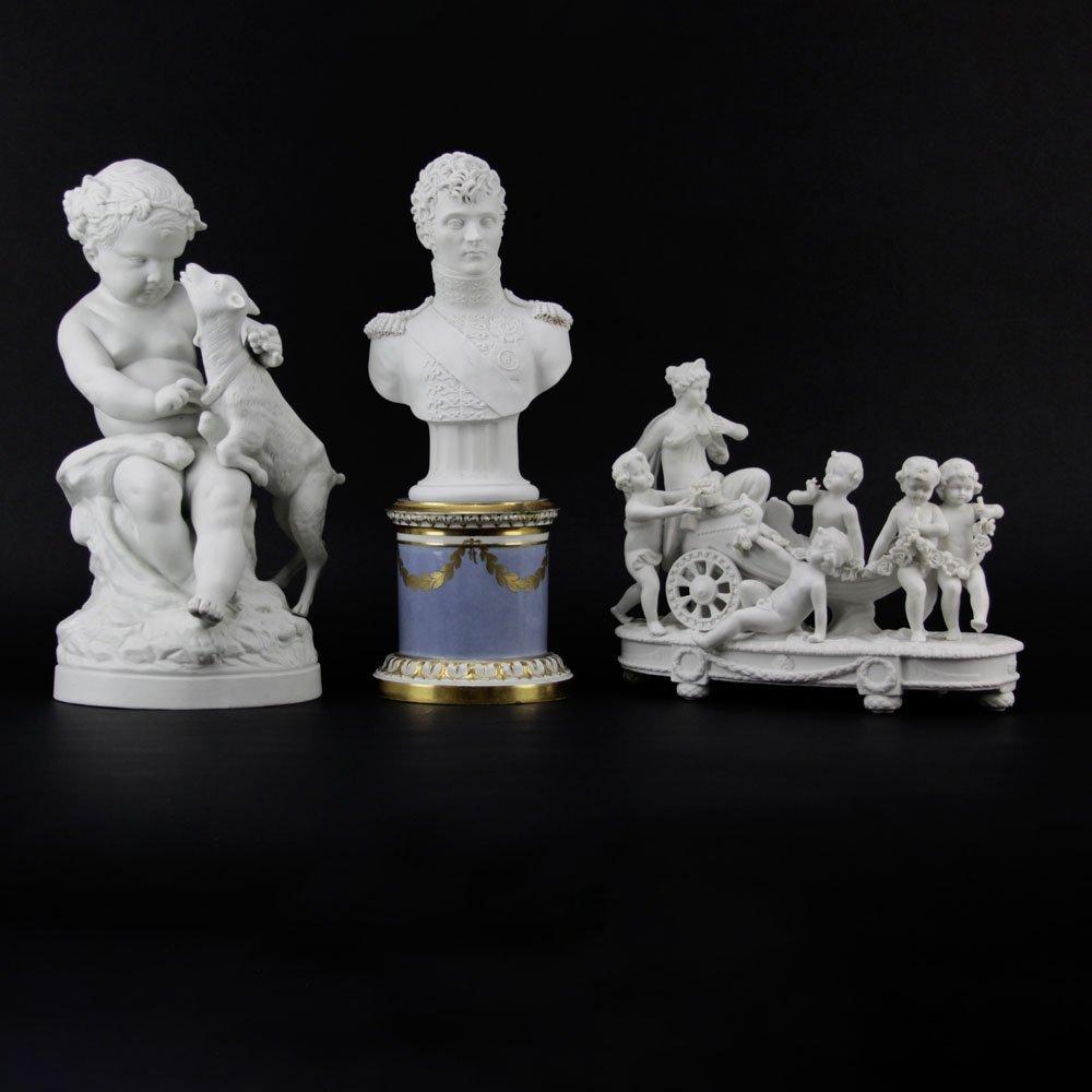 Three Antique Bisque Parian Figures. After Clodion,