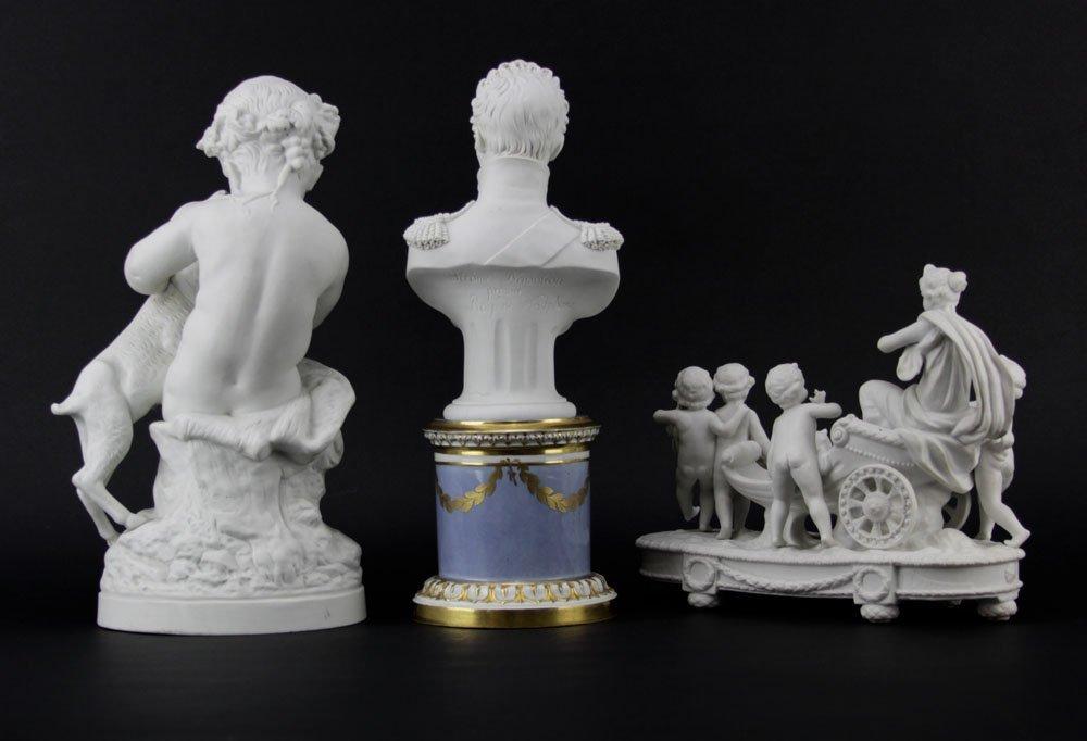 Three Antique Bisque Parian Figures. After Clodion, - 2