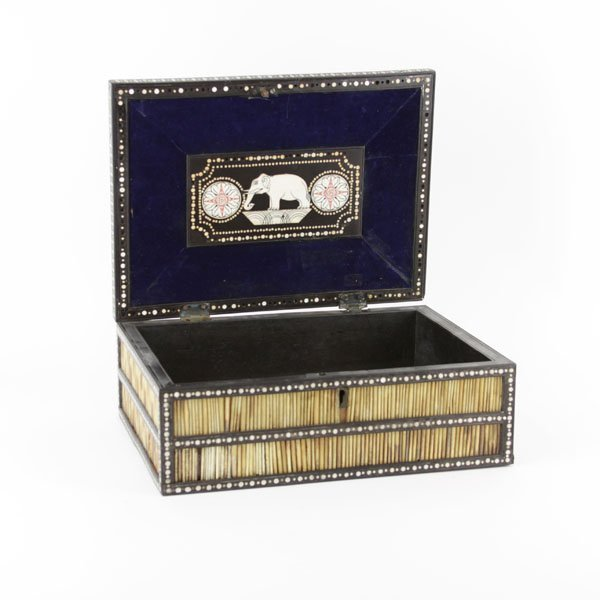 An Ebonised Wood, Bone and Porcupine Quill Box. The