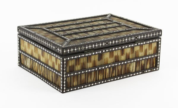 An Ebonised Wood, Bone and Porcupine Quill Box. The - 4