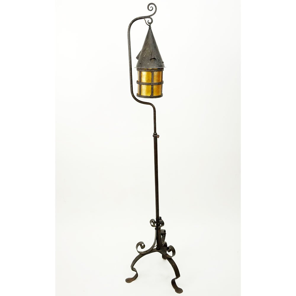 Arts & Crafts Wrought Iron Lantern With Mica Shade.