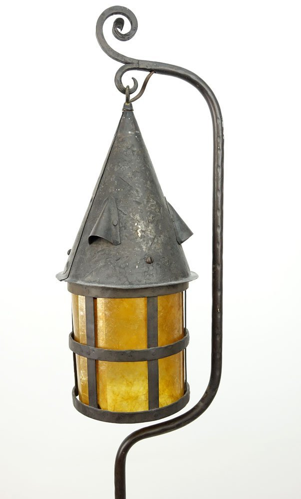 Arts & Crafts Wrought Iron Lantern With Mica Shade. - 4