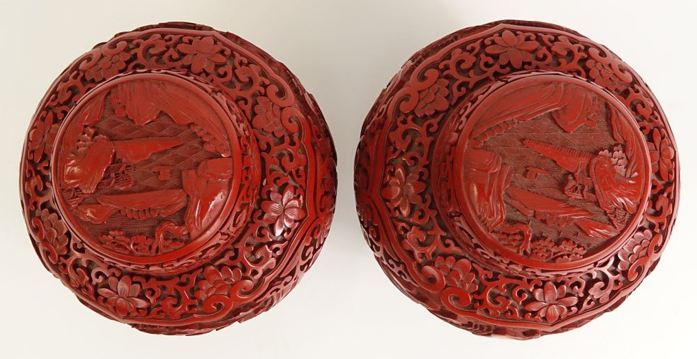 Pair Chinese Nicely Carved Cinnabar and Enameled Ginger - 2