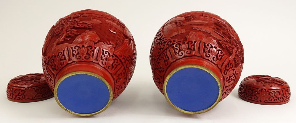 Pair Chinese Nicely Carved Cinnabar and Enameled Ginger - 3