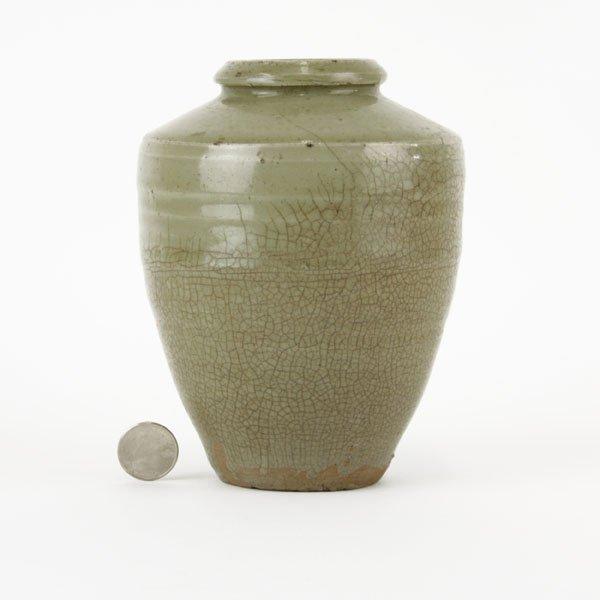 Chinese Yuan Dynasty Glazed Earthenware Pottery Vase.