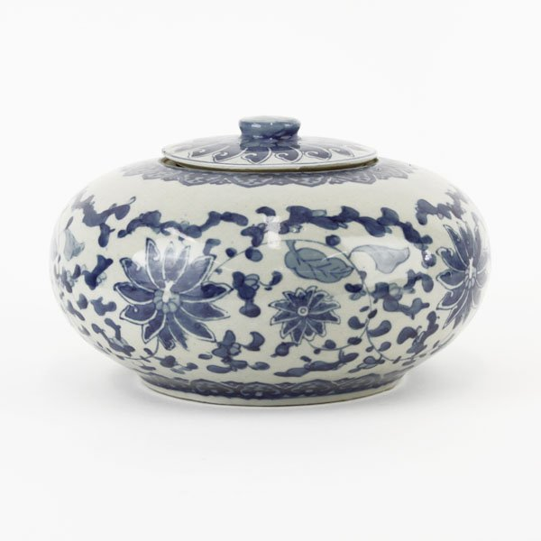 Chinese Ming Style Blue and White Covered Low Bowl.