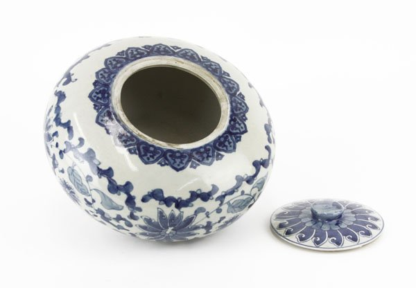 Chinese Ming Style Blue and White Covered Low Bowl. - 2