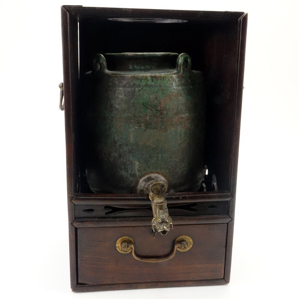 Antique Chinese Hardwood and Brass Tea Box. Inside a - 2