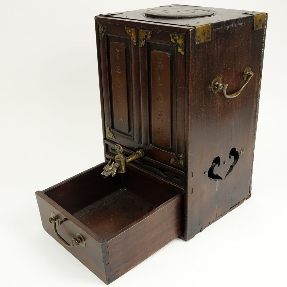 Antique Chinese Hardwood and Brass Tea Box. Inside a - 4
