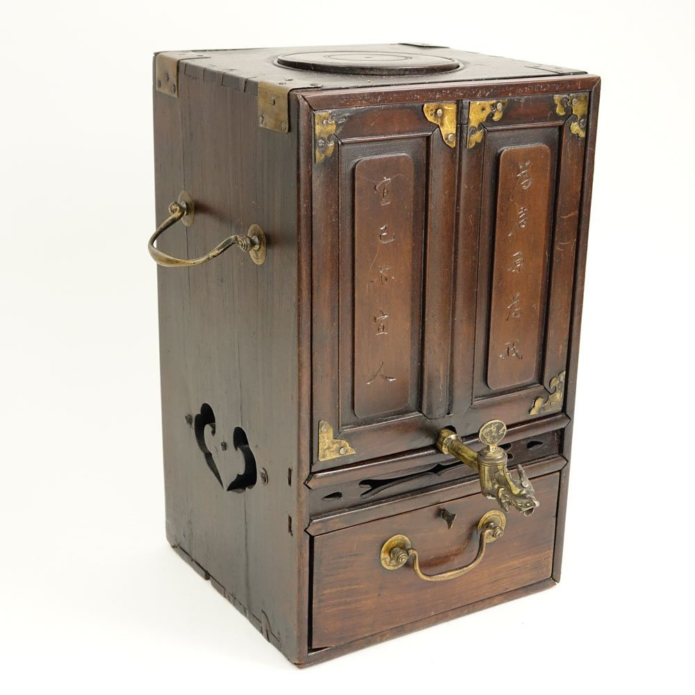 Antique Chinese Hardwood and Brass Tea Box. Inside a - 6