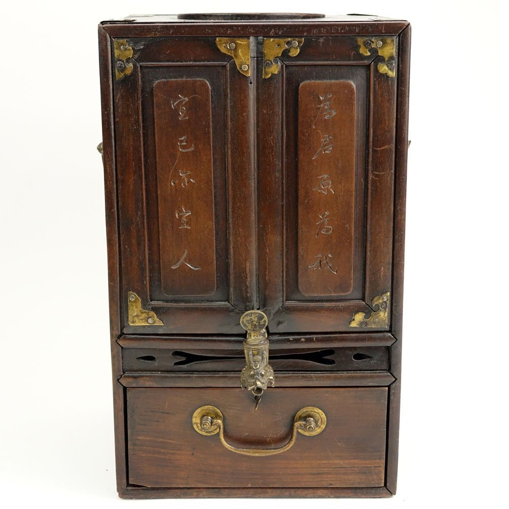 Antique Chinese Hardwood and Brass Tea Box. Inside a - 7