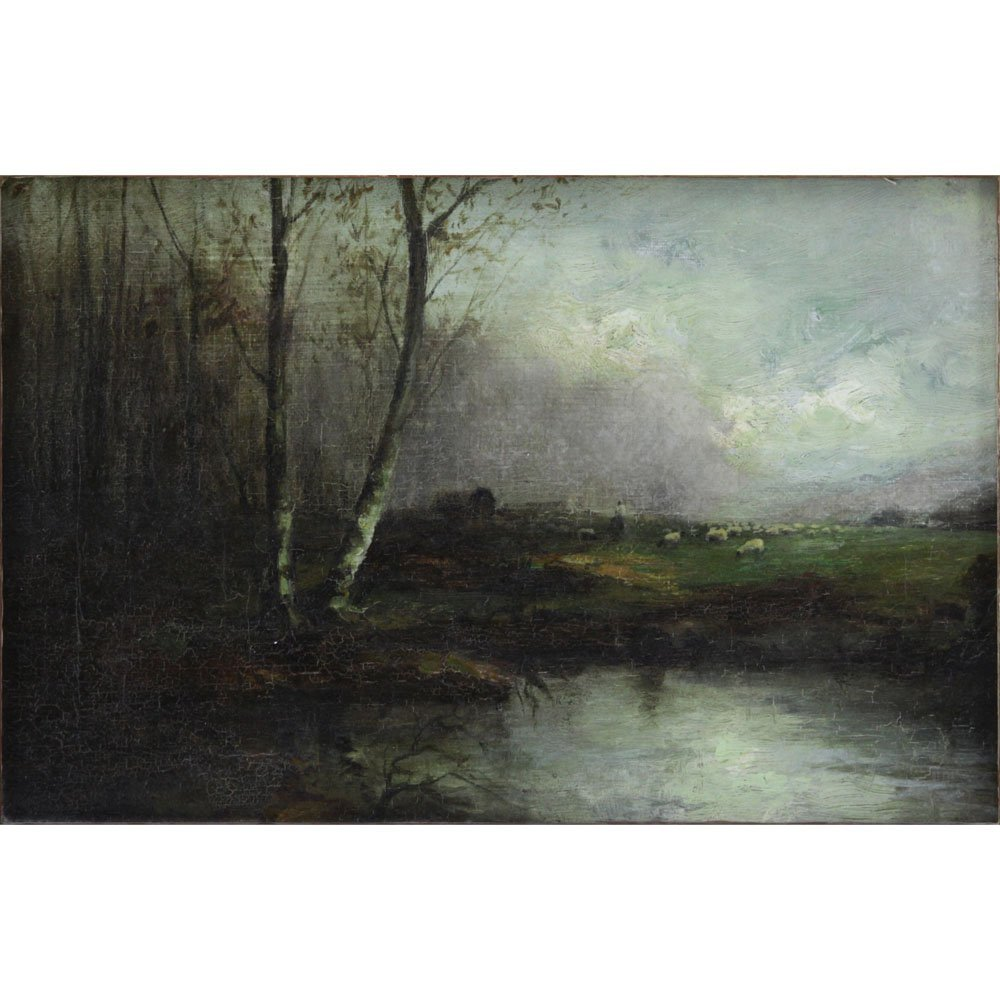 "19th Century Barbizon School ""Pastoral Landscape""."