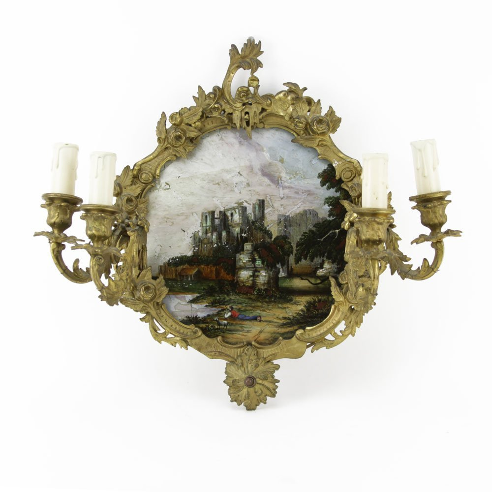 19th Century French Bronze Mounted Reverse Painted
