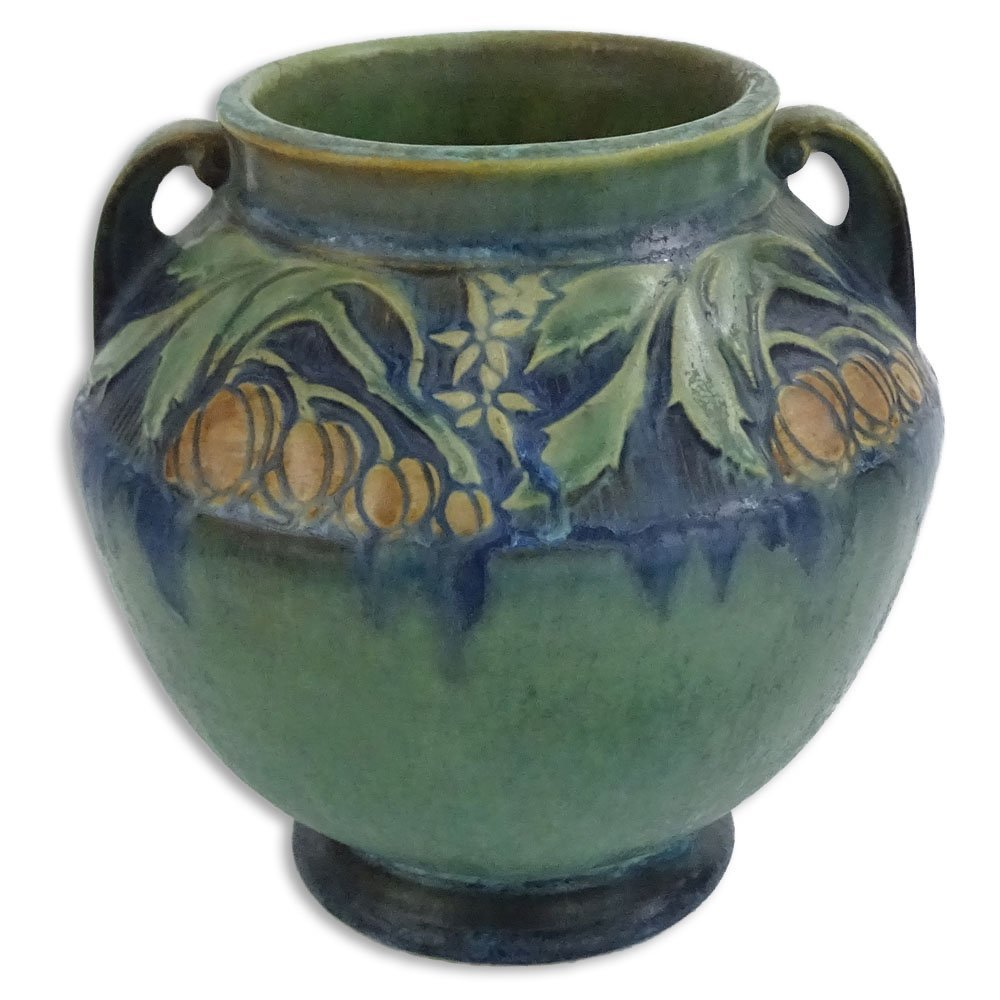 Roseville Green Baneda Pottery Vase. Signed with R. No