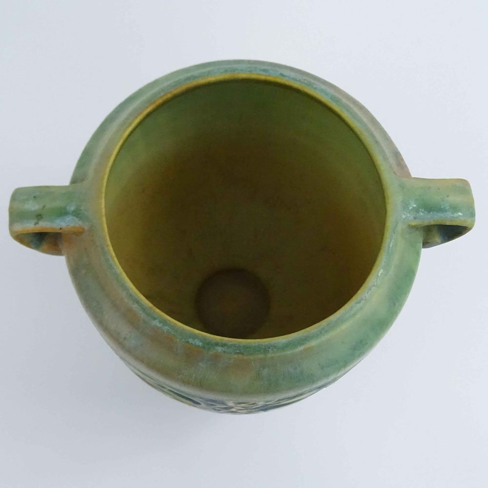 Roseville Green Baneda Pottery Vase. Unsigned, shadow - 2