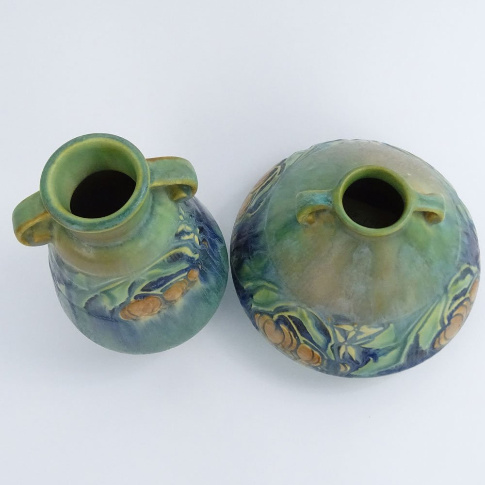 Lot of Two (2) Roseville Green Baneda Pottery Vases. - 2