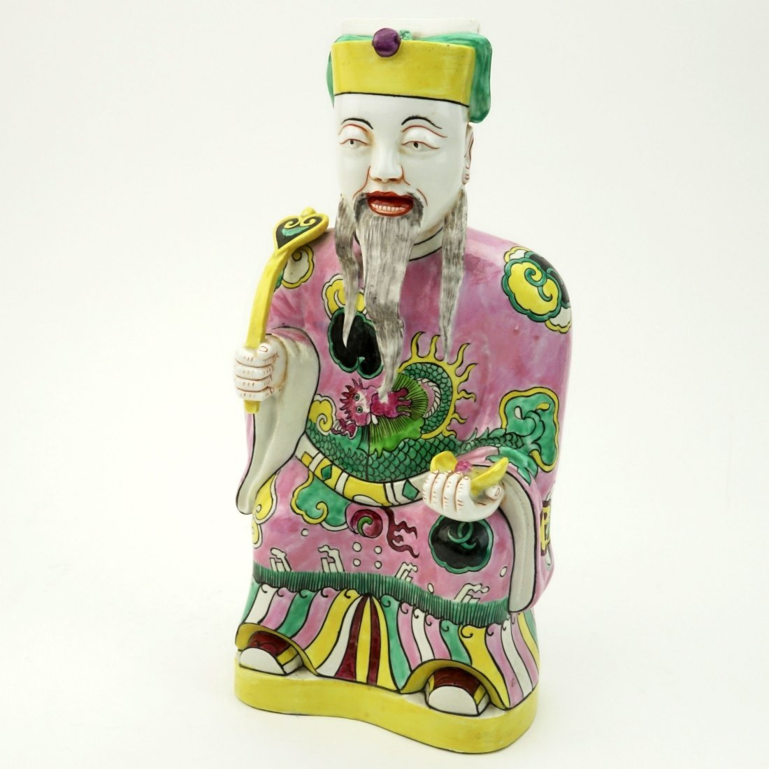 "20th C Chinese Hand Painted Porcelain ""Emperor With"