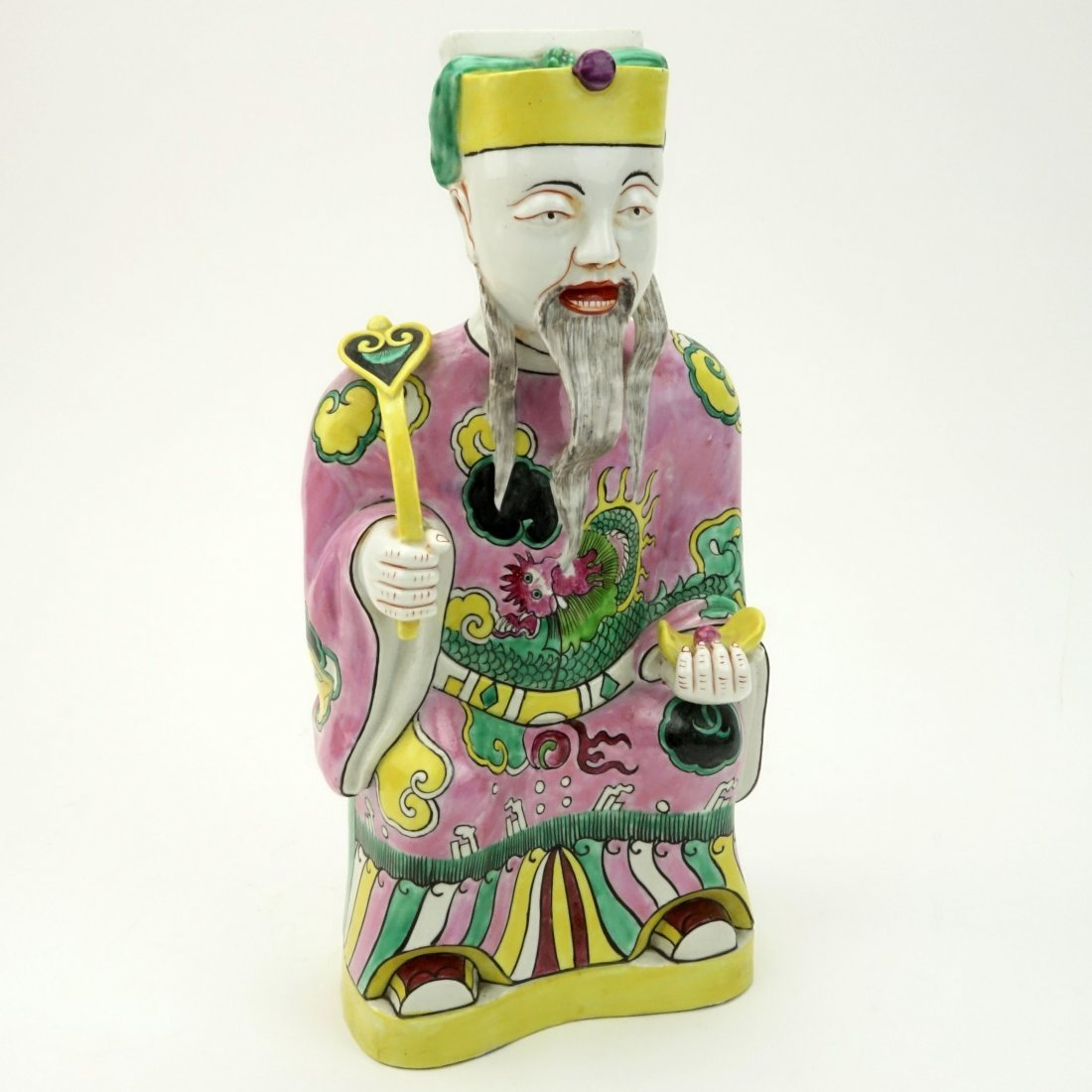 "20th C Chinese Hand Painted Porcelain ""Emperor With - 2"