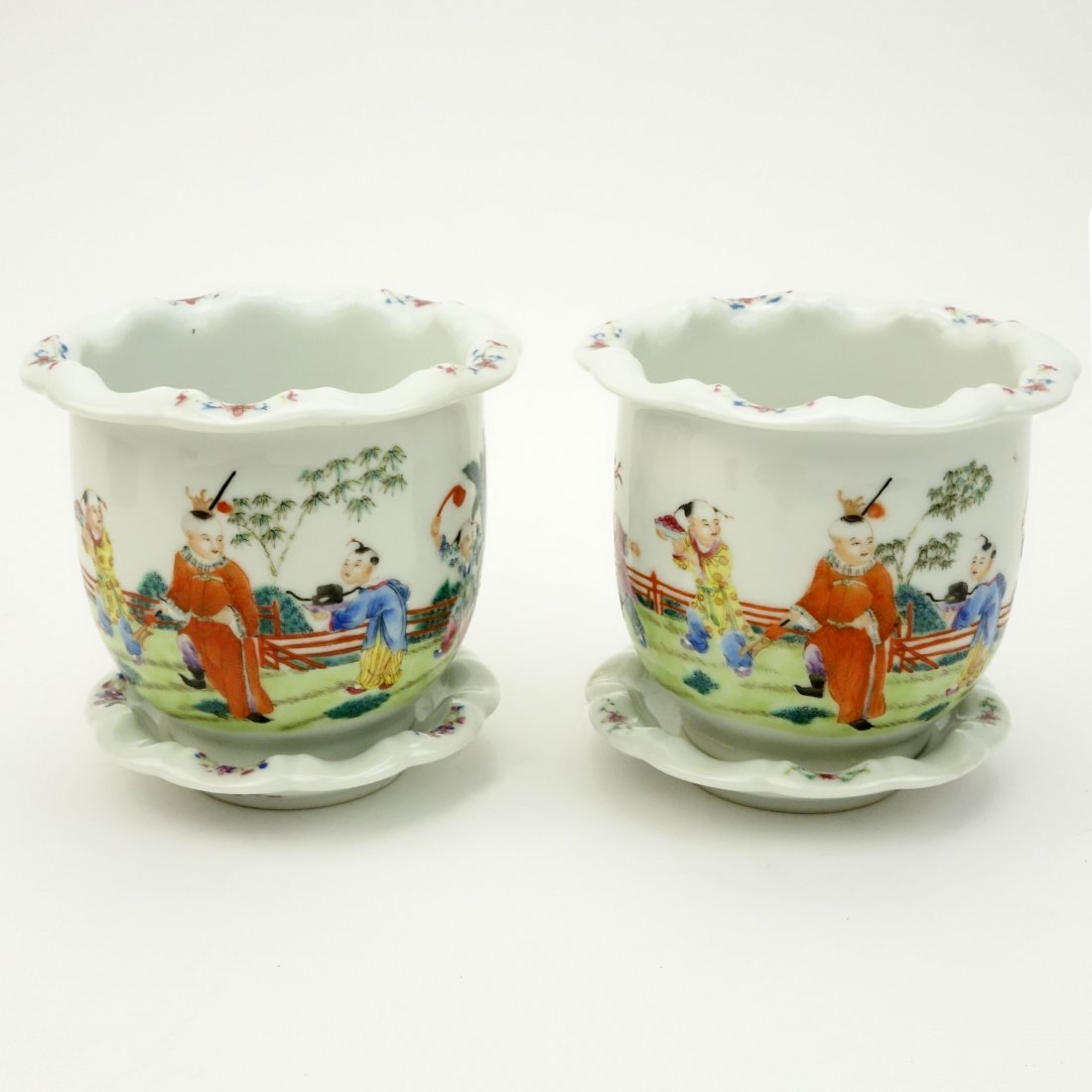 Pair of Mid Century Chinese Hand Painted Porcelain