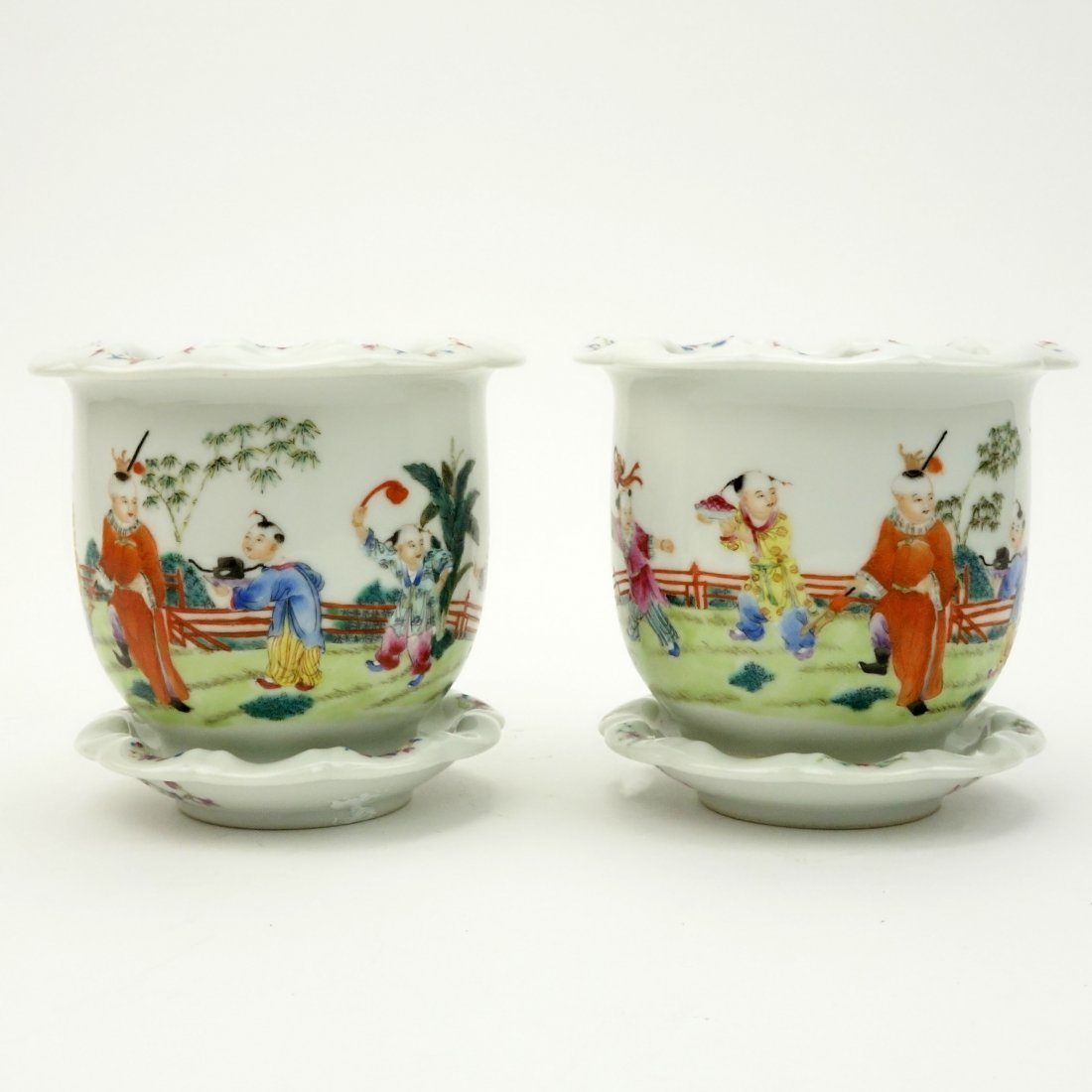 Pair of Mid Century Chinese Hand Painted Porcelain - 2