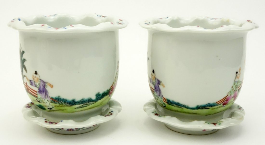 Pair of Mid Century Chinese Hand Painted Porcelain - 4