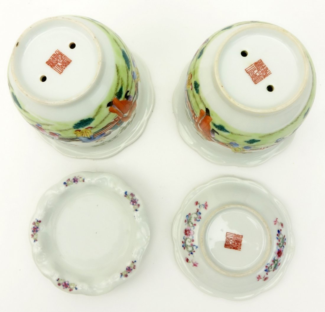 Pair of Mid Century Chinese Hand Painted Porcelain - 5