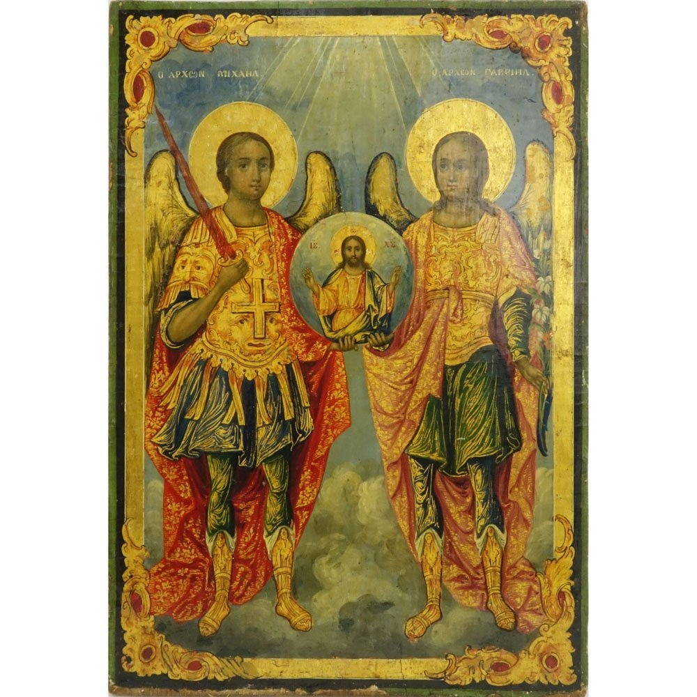 Antique Hand Painted Russian Icon. Canvas laid on