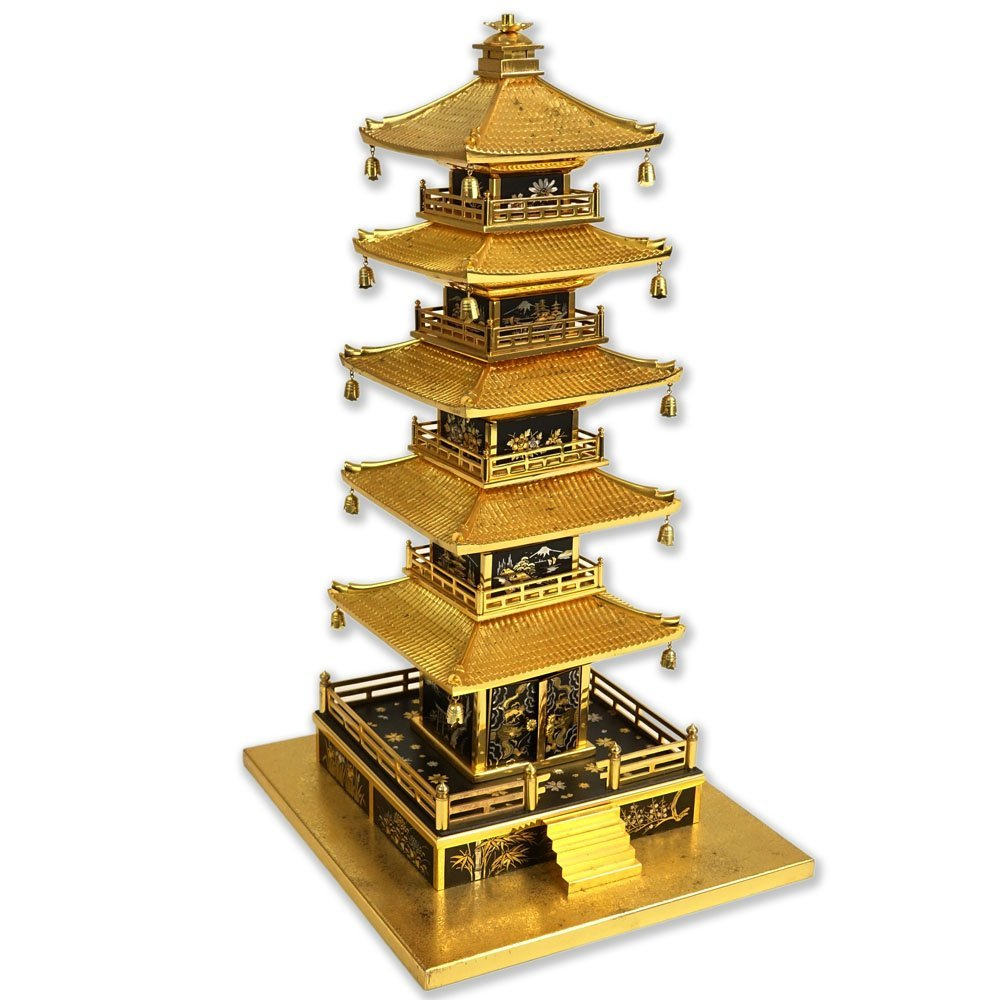 Vintage Japanese Brass Miniature Pagoda. Unsigned.