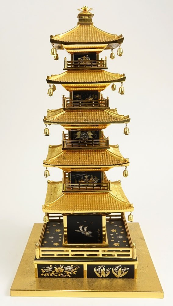 Vintage Japanese Brass Miniature Pagoda. Unsigned. - 3