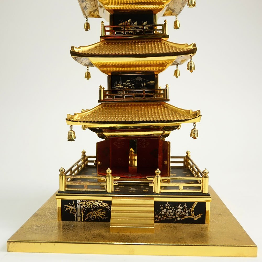 Vintage Japanese Brass Miniature Pagoda. Unsigned. - 5