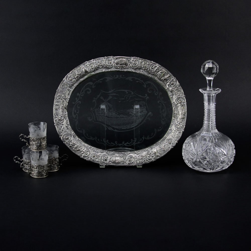 Antique Cut Crystal Decanter on Silver Plate and Glass - 2