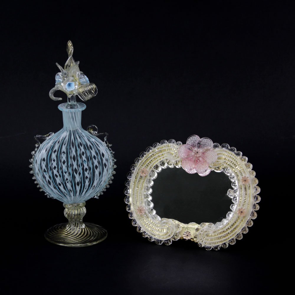 Lot of Two (2) Vintage Murano Glass Vanity Items.