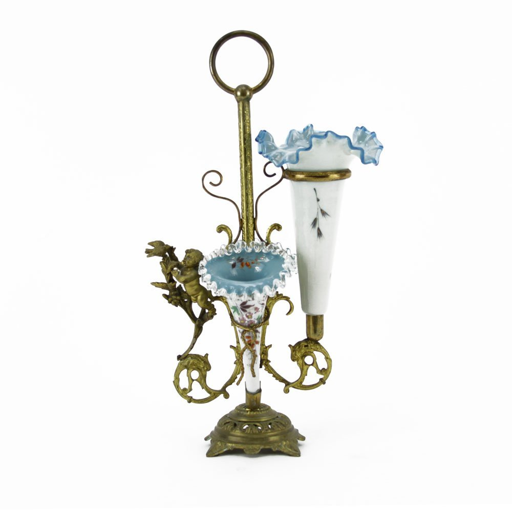 Victorian Enameled Cased Glass and Bronze Epergne.