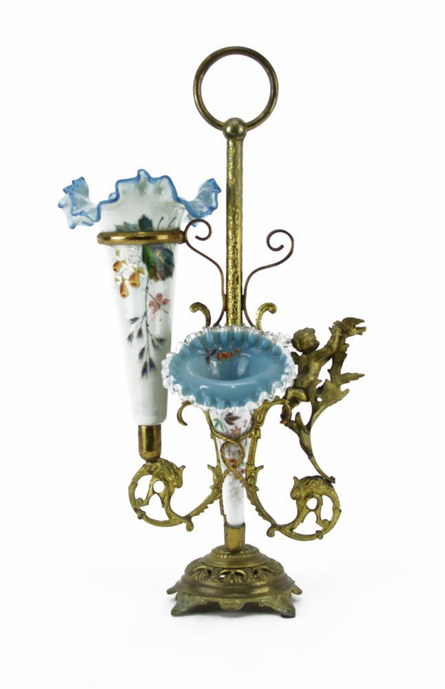 Victorian Enameled Cased Glass and Bronze Epergne. - 2