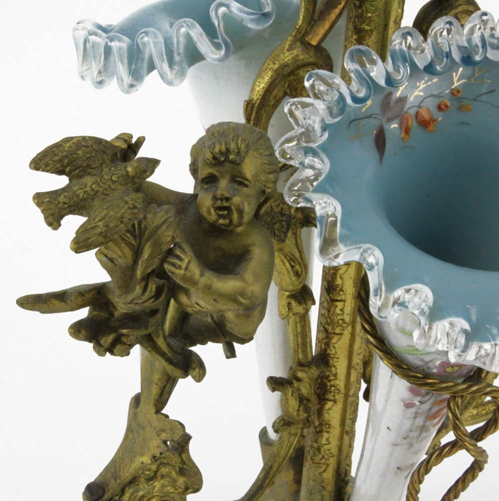 Victorian Enameled Cased Glass and Bronze Epergne. - 4