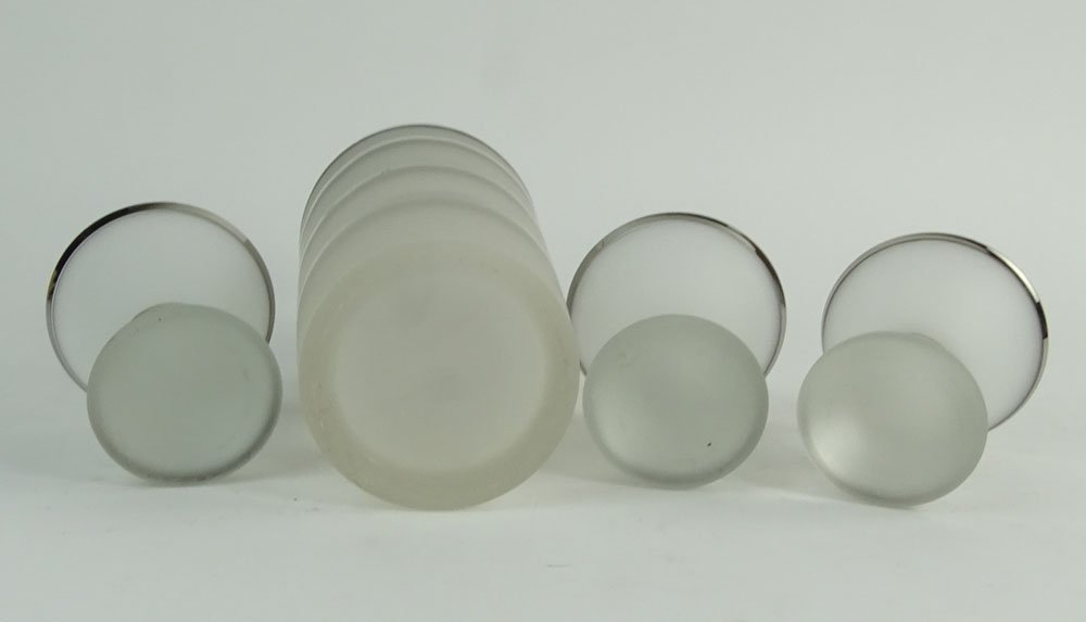 Mid Century Frosted Glass Three Band Cocktail Shaker - 4